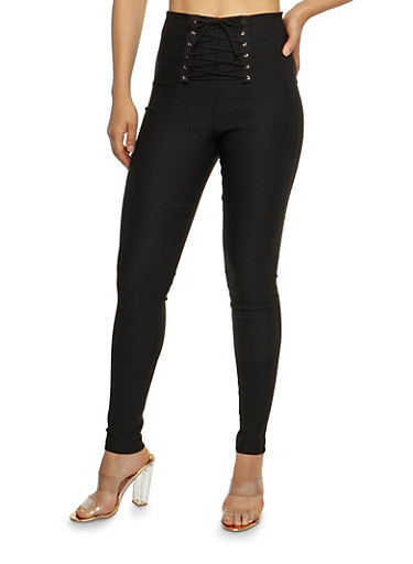 Lace Up Front Dress Pants,BLACK,large