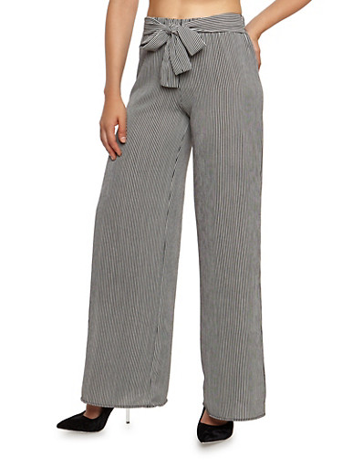 Striped Crepe Knit Palazzo Pants,BLACK,large