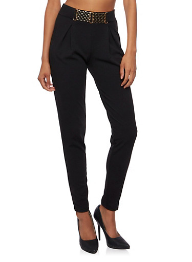 Pleated Skinny Pants with Buckle Waist,BLACK,large