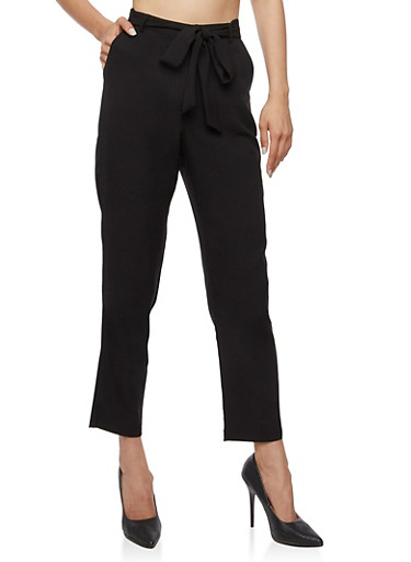 Belted Solid Pants,BLACK,large