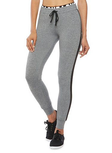 Foldover Joggers with Love Print,BLACK HEATHER,large