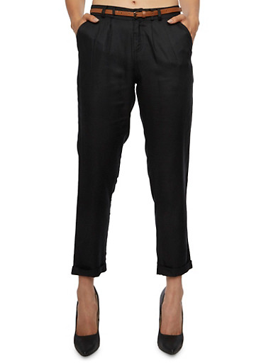 Pleated Pants with Removable Belt,BLACK,large