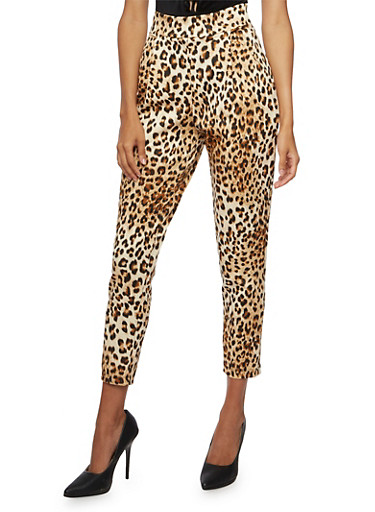 Pleated Pants in Leopard Print,BROWN,large