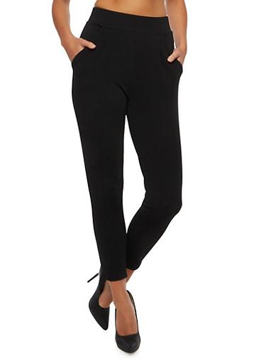 Textural Pants with Box Pleats,BLACK,large
