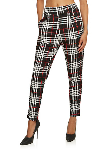 Plaid Skinny Pants with Pockets,BLACK/WHITE,large