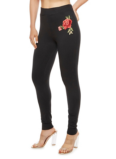 Solid Jogger Leggings with Rose Patch,BLACK,large