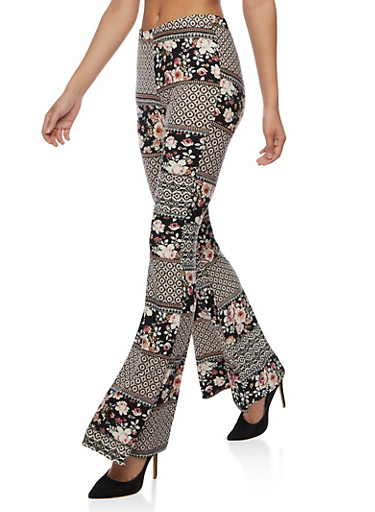 Flare Printed Pants,BLACK MAUVE ROSE,large
