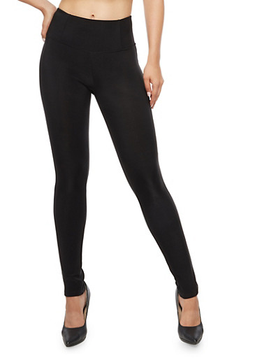 Wide Waisted Leggings,BLACK,large