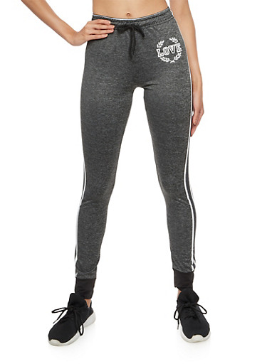 Love Graphic Side Striped Sweatpants,CHARCOAL,large