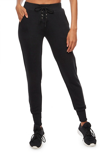 Lace Up Fleece Lined Joggers,BLACK,large