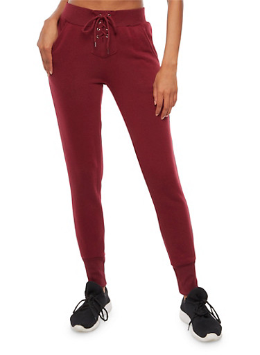 Lace Up Fleece Lined Joggers,BURGUNDY,large