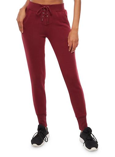Lace Up Fleece Lined Sweatpants,BURGUNDY,large