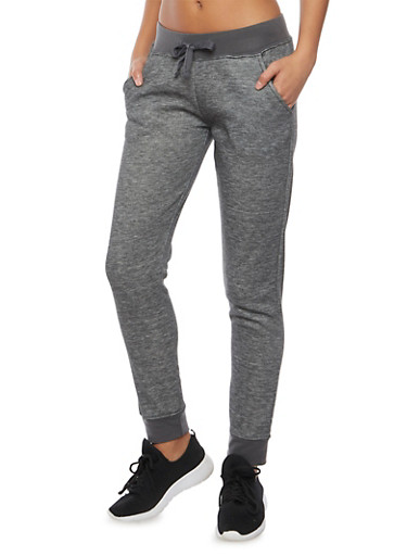 Heathered Joggers with Fleece Lining,CHARCOAL,large