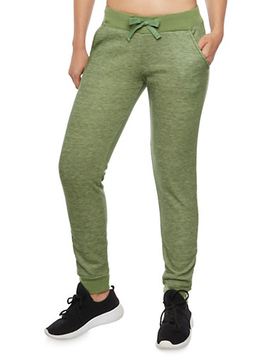 Heathered Joggers with Fleece Lining,OLIVE,large