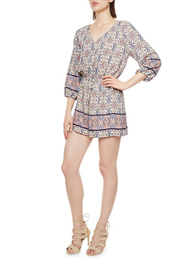 Almost Famous Floral Print Romper with V-Neck,CREAM,large