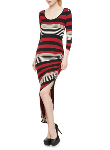 Almost Famous Asymmetrical Dress with Stripes,WINE TAUPE,large