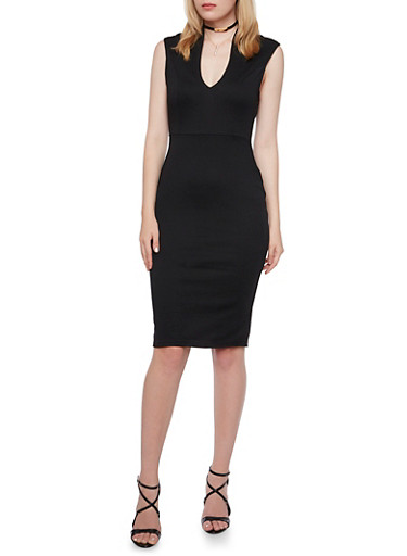 Ponte Midi Dress,BLACK,large