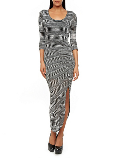 Striped Knit 3/4 Sleeve Bodycon Dress With Ruched Side,BLACK/IVORY,large