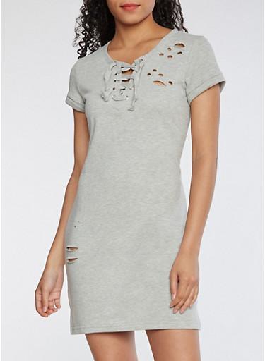 Laser Cut Sweatshirt Dress,HEATHER,large
