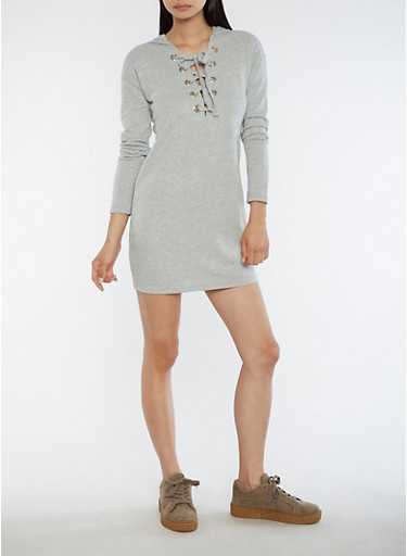 Hooded Lace Up Sweater Dress,HEATHER,large
