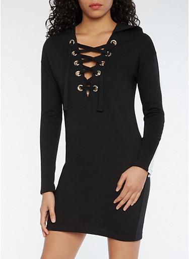 Lace Up Hooded Sweatshirt Dress,BLACK/WHITE,large