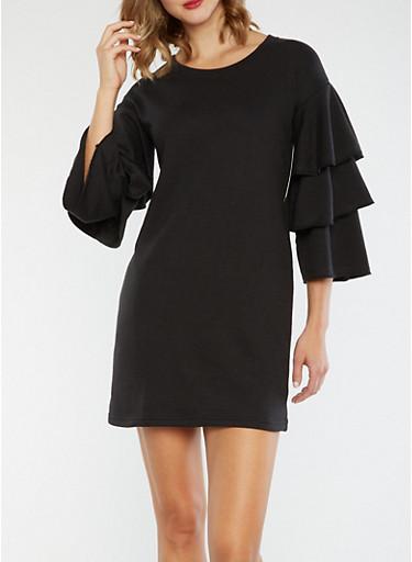 Tiered Sleeve Sweater Dress,BLACK,large