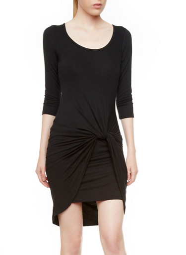 Three-Quarter Length Sleeve Twist-Front Mini Bodycon Dress,BLACK/TAUPE,large