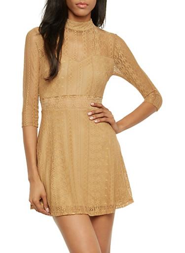 Mock Neck Lace Skater Dress with Scoop Back,CAMEL,large