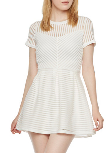 Shadow Stripe A-Line Dress with Box Pleating,WHITE,large