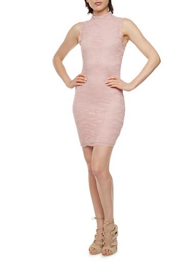 Lace Mini Dress with Mockneck,BLUSH,large