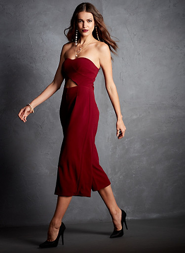 Strapless Jumpsuit with Cropped Legs and Cutout Detail,BURGUNDY,large