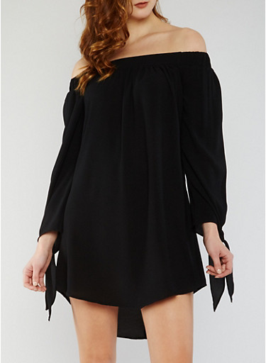 Solid Off the Shoulder Dress with Tie Sleeves,BLACK,large