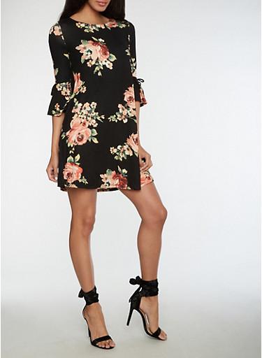 Open Back Floral Shift Dress,BLACK,large