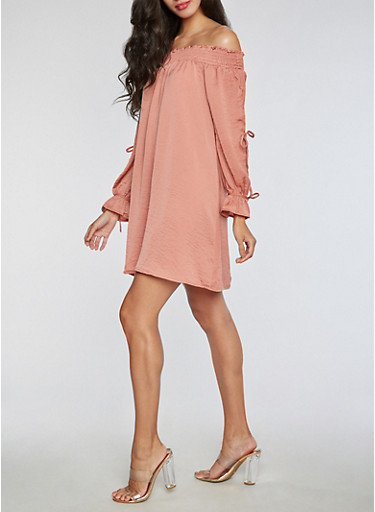 Off the Shoulder Dress with Tie Sleeves at Rainbow Shops in Daytona Beach, FL | Tuggl