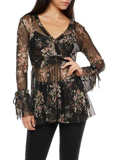 Floral Lace Peasant Top,BLACK,large