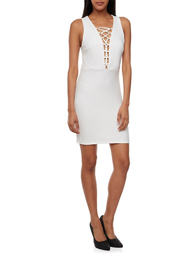 Ribbed Dress with Lace-Up Neckline,WHITE,large
