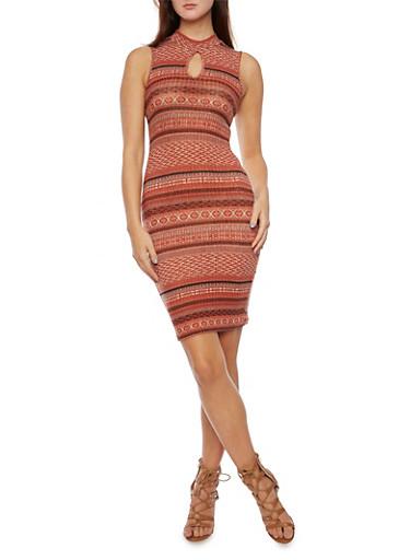 Sleeveless Dress in Aztec Print,RUST,large