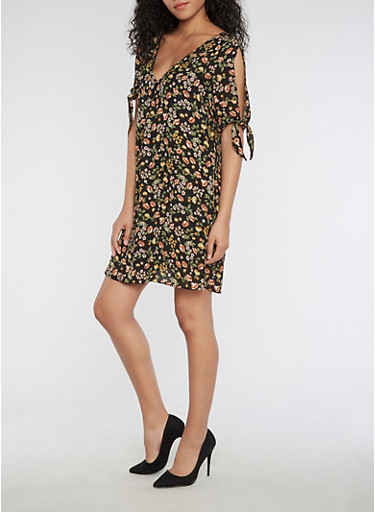 Cold Shoulder Floral Print Dress,BLACK,large