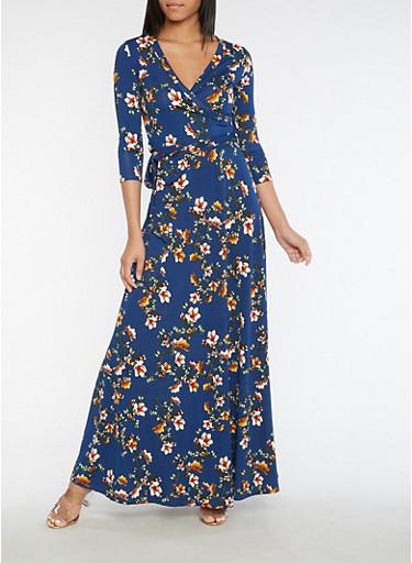 Faux Wrap Floral Maxi Dress,NAVY,large