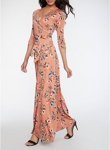 Faux Wrap Floral Maxi Dress,PEACH,large