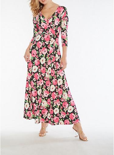 Floral Faux Wrap Maxi Dress,FUCHSIA,large