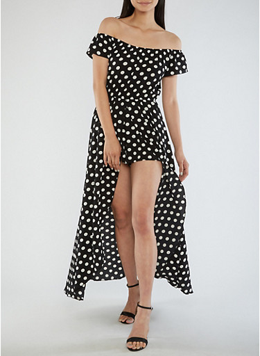 Crepe Knit Polka Dot Romper,BLACK/PRT A,large