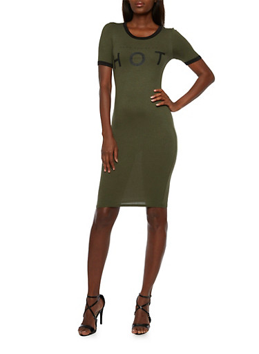 Rib-Knit Dress with Hot Graphic,OLIVE,large