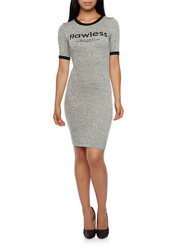 Marled Ringer Dress with Flawless Much Graphic,GRAY,large