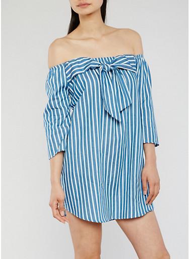 Off the Shoulder Striped Denim Shirt Dress,BLUE,large