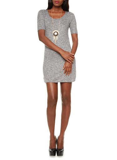 Marled Ribbed Knit Mini Dress with Detachable Pendant Necklace,BLACK,large