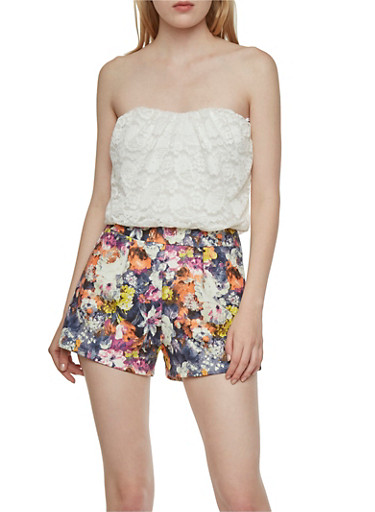Strapless Romper in Lace and Floral Scuba Knit,WHITE,large