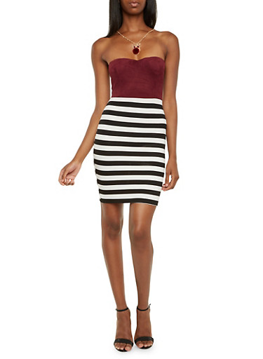 Strapless Bodycon Dress with Necklace,BURGUNDY,large