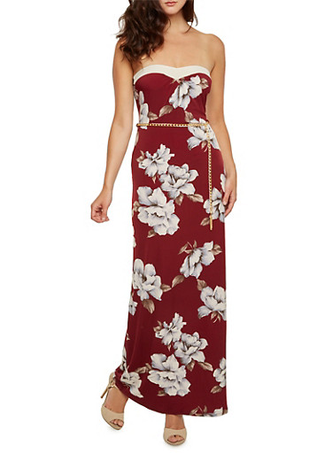Strapless Floral Maxi Dress with Chainlink Belt,BURGUNDY,large