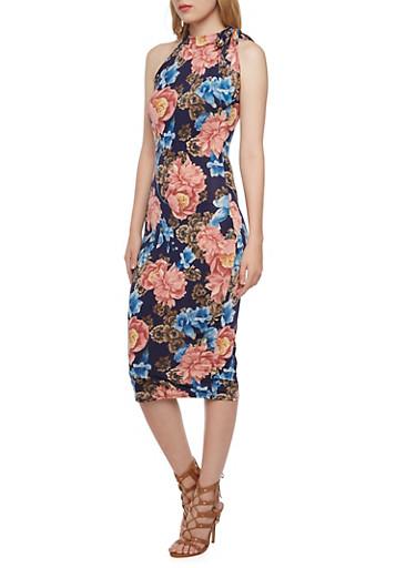 Halter Midi Dress in Floral Print,MAUVE,large
